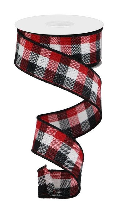 """1.5"""" Woven Check Ribbon: Red/Blk/Wht - 10Yds"""