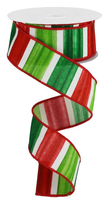 "1.5"" Christmas Watercolor Stripe Ribbon: Red/Lime/Emerald/Wht - 10yds"