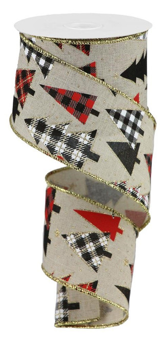 "2.5"" Plaid Tree Ribbon: Tan/Blk/Wht/Red"