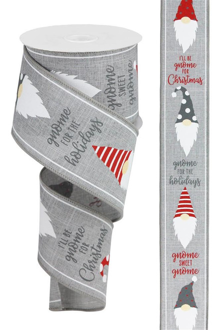 "2.5"" Christmas Gnome Head Ribbon: Grey/Red"