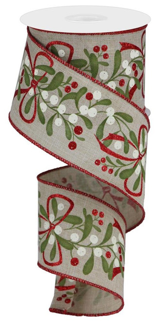 "2.5"" Mistletoe with Bow Ribbon: Lt Beige - 10Yds"