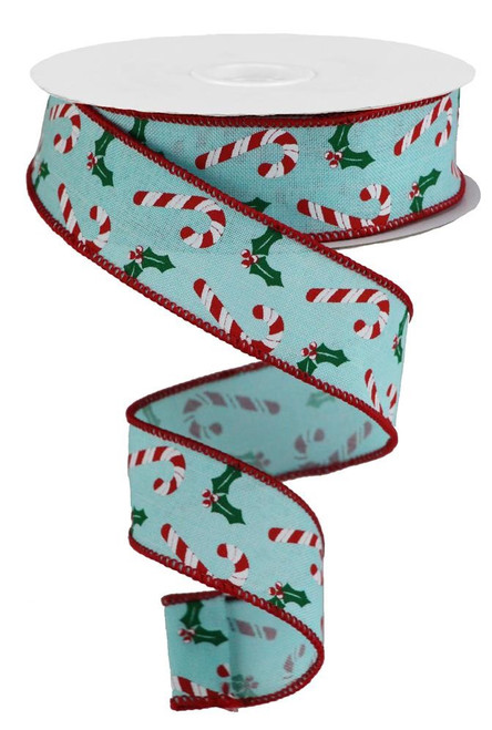"1.5"" Candy Cane Holly Ribbon: Ice Blue - 10 Yds"