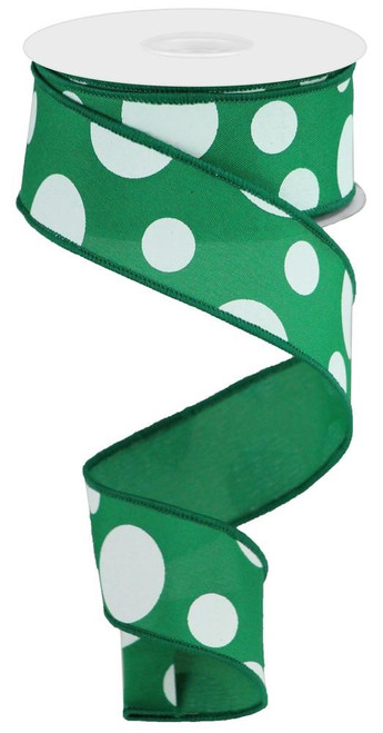 "1.5"" x 10yd Giant Dot Fabric Ribbon: Emerald/White"