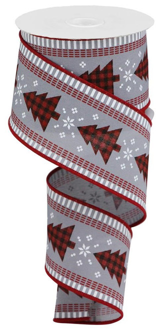 "2.5"" Check Tree/Stripe Edge Ribbon: Grey/Red/Wht"