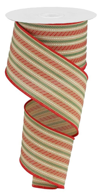"2.5"" Slash Stripe Ribbon: Tan/Red/Green - 10yds"