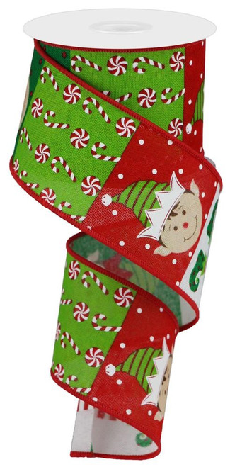 """2.5"""" Elf Face Colorblock Ribbon: Lime/Emerald/Red - 10 yards"""