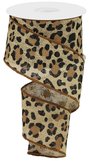 "2.5"" Leopard Print Ribbon:  Natural -  10yds"