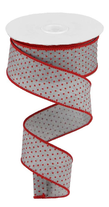 "1.5"" Raised Swiss Dot Ribbon: Lt Grey/Red - 10yd"