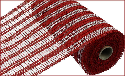 "10"" Poly Burlap Double Stripe Mesh: Red/White"