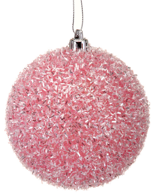 100mm Cotton Candy Ball Ornament: Pink (Box of 3)