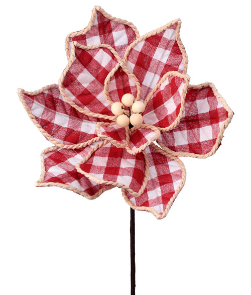 "24"" Red/White Check Poinsettia Pick"