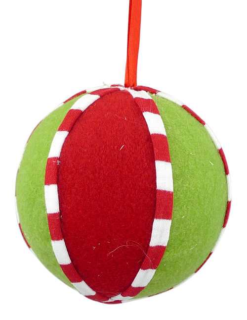 Red and Green Felt Ball Ornament