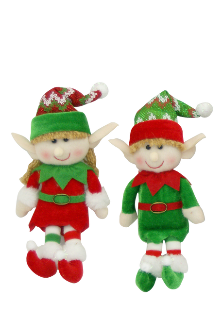 "10"" Plush Elf Ornaments"