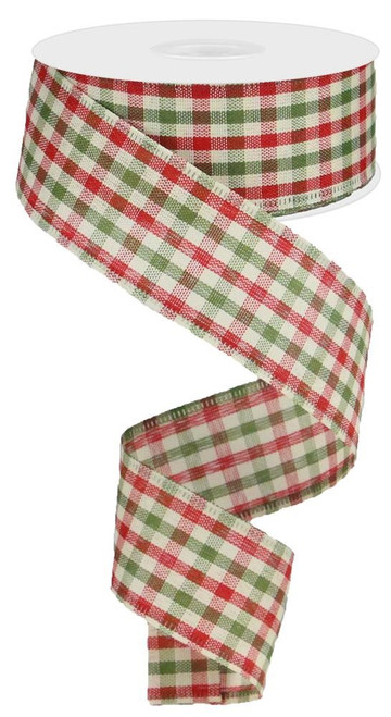 """1.5"""" Primitive Gingham Ribbon: Red/Moss/Ivory - 10Yds"""