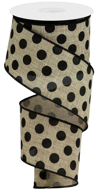 "2.5"" x 10yd Linen Polka Dot Ribbon: Beige/Black"