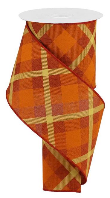"4"" Diagonal Plaid Ribbon: Rust/Orange/Mustard - 10yds"