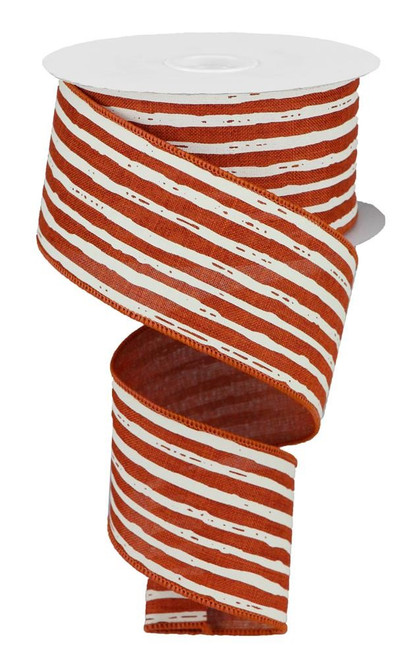 "2.5"" Irregular Stripe Ribbon: Rust/Cream"