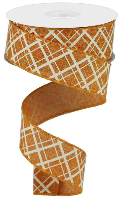 "1.5"" Thick/Thin Diagonal Check Ribbon: Talisman/Cream- 10Yds"