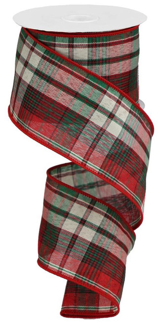 "2.5"" Christmas Woven Plaid Ribbon: Red/Emerald/Ivory - 10Yds"