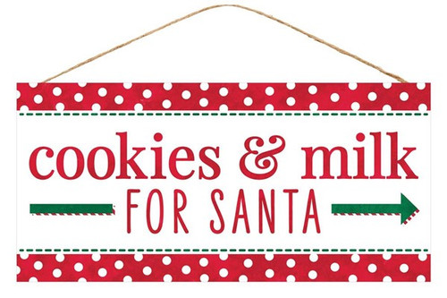 "12.5"" Cookies and Milk for Santa Sign"