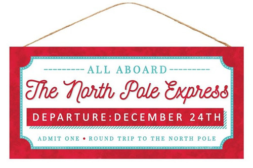"12.5"" The North Pole Express Sign"