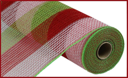 "10.5"" Poly Faux Jute Mesh: Wide Stripe Red/Lime/Wht Stripe"