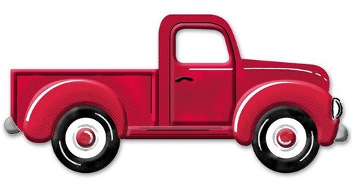 "12"" Embossed Metal Vintage Truck:  Red"