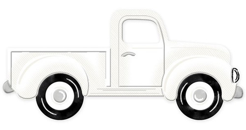 "12"" Embossed Metal Vintage Truck:  White"