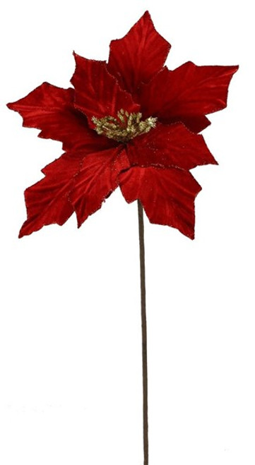 Velvet/Glitter Poinsettia Stem:  Red/Gold