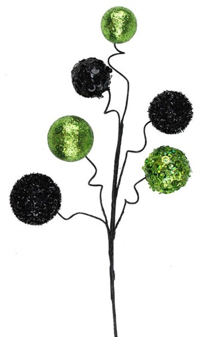 "20"" Glitter/Sequin Ball Spray: Lime/Black"