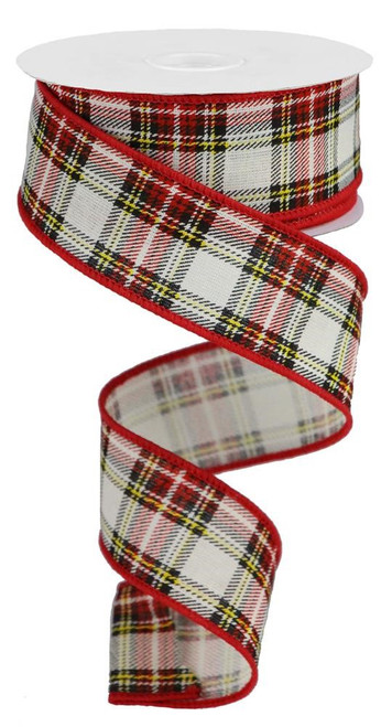 "1.5"" Cotton Plaid Ribbon: White/Red/Yllw/Blk - 10Yds"