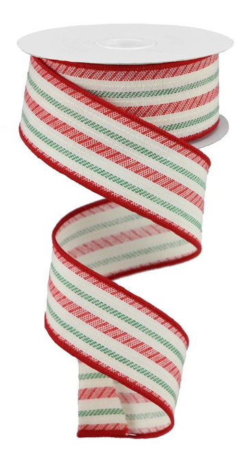 "1.5"" Slash Stripe Ribbon: Ivory/Red/Green - 10yds"