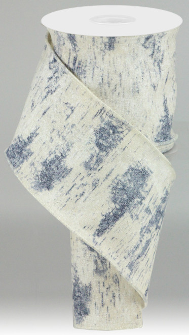"4"" Birch Bark Ribbon: Ivory/Blue- 10yds"