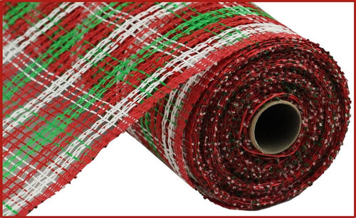 "10"" Plaid Poly Burlap Mesh: Red/Emerald/Wht"