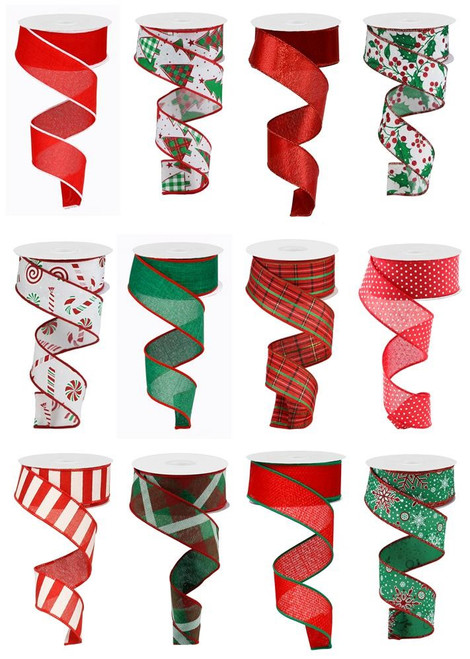 "1.5"" Holly Jolly Christmas Ribbon Assortment, Box of 12"