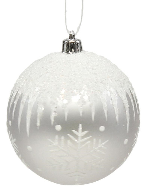 100mm Snowflake/Icicle Ball Ornament: Silver/Wht