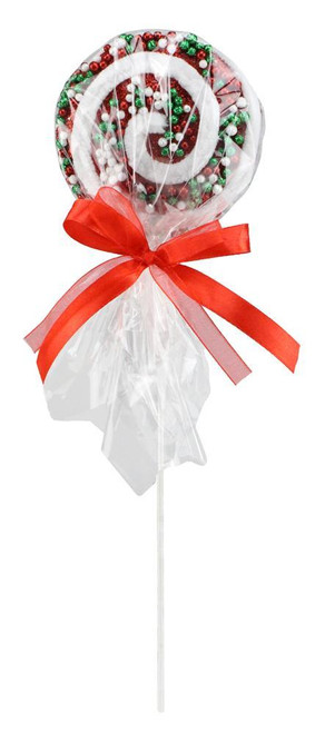 "13"" Wrapped Christmas Lollipop with Sprinkles"