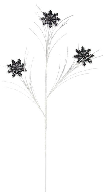 "34"" Glitter Snowflake Spray: Black/White"