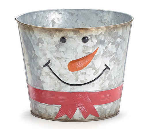 "4"" Galvanized Tin Snowman Pot Cover"