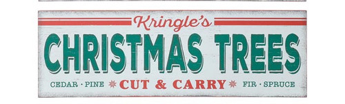 "18"" Vintage Kringle's Christmas Trees Sign"