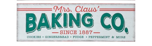 "18"" Vintage Mrs. Claus' Baking Co Sign"