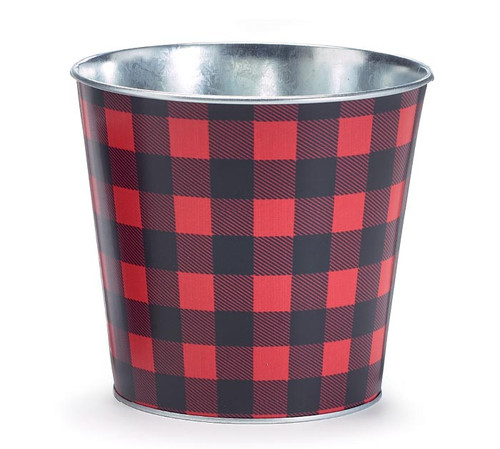 "6"" Red/Black Buffalo Check Pot Cover"