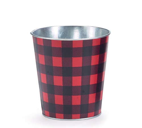 "4.5"" Red/Black Buffalo Check Pot Cover"