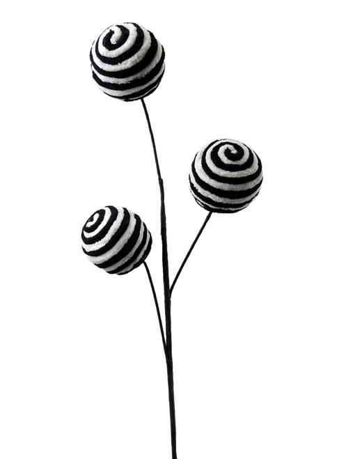 Black/White Stripe Chenille Ball Spray (3)