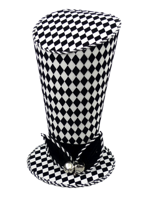 "10"" Asymmetrical Harlequin Top Hat: Blk/Wht"