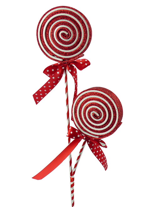 Glitter Lollipop Spray x 2: Red/Wht