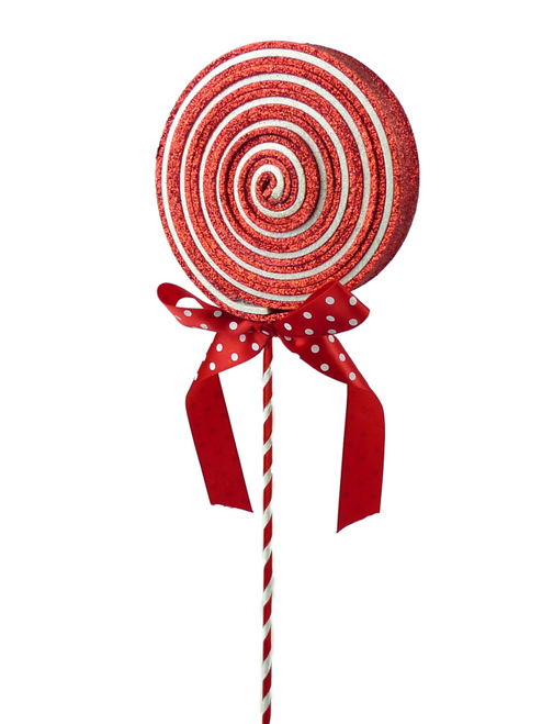 Glitter Lollipop Pick: Red/White