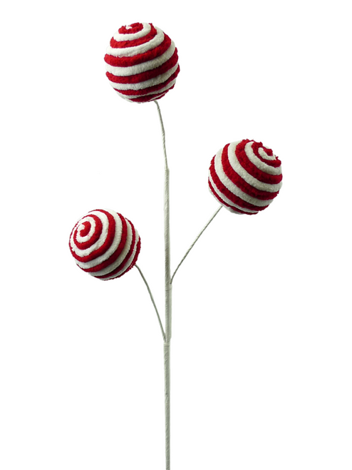 Red/White Stripe Chenille Ball Spray (3)