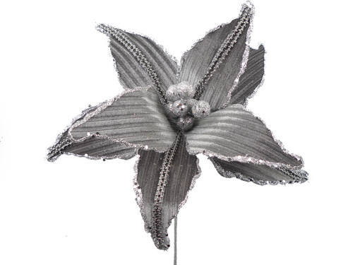 Grey Velvet Rhinestone Poinsettia Pick