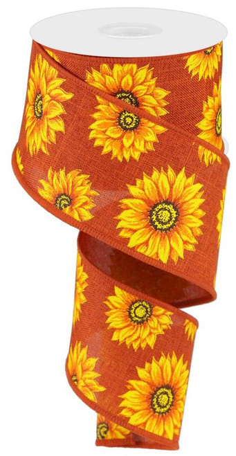 "2.5"" Multi Sunflower Ribbon: Rust - 10Yds"